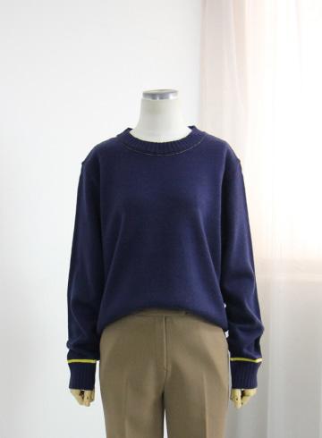 언더라인 라운드넥 니트 티셔츠 AP60