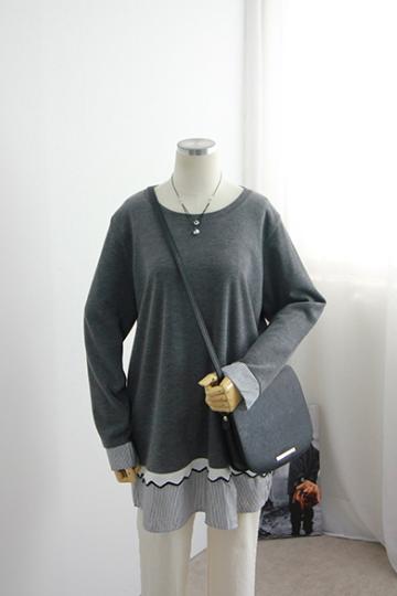 셔츠배색 티셔츠 BSI497