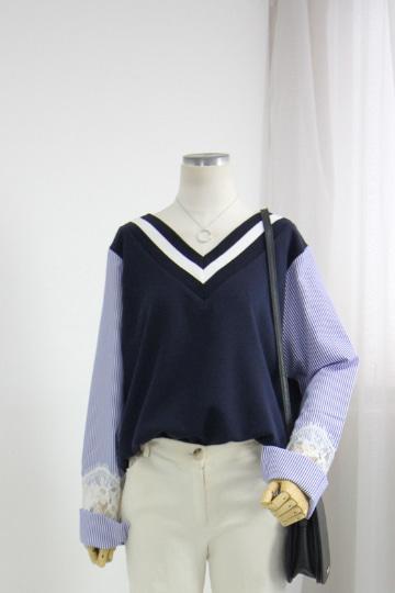레이스 배색 브이넥 티셔츠 BSI567