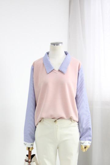 더즈 스트라이프 셔츠 티셔츠 BSI568
