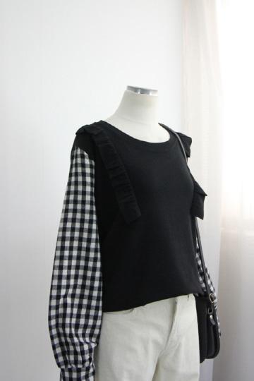 체크 배색 겉기모 맨투맨 티셔츠 BSI593