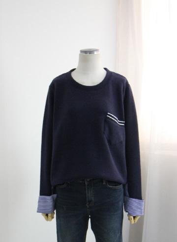 반전 스트라이프 겉기모 티셔츠 BSI596