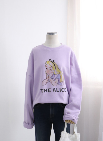 앨리 프린팅 쭈리 맨투맨 티셔츠 DD505