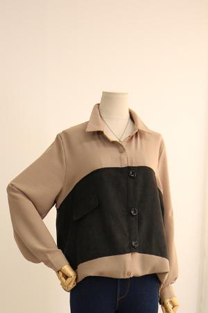 세무 배색 셔츠 DOT29