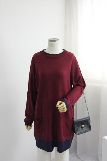 슬림 배색 라운드 니트 티셔츠 EBR1281
