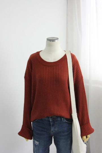 데니 골지 니트 티셔츠 EBR1287