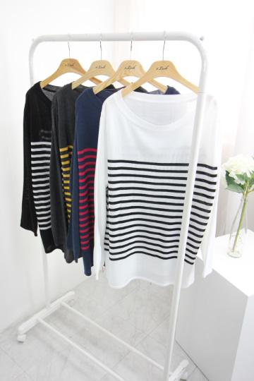 캐주얼 단가라 니트 티셔츠 EBR1288