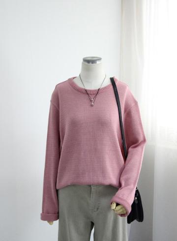 데일리 라운드넥 니트 티셔츠 EBR1326