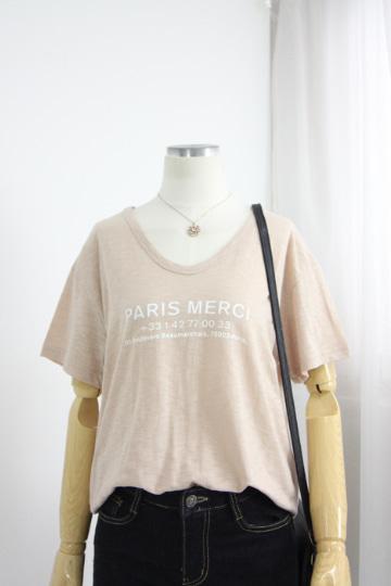 [교환반품불가] 심플 파리스 반팔 티셔츠 GD1312