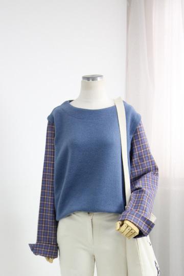 버뮤 겉기모 체크배색 티셔츠 GOA1149