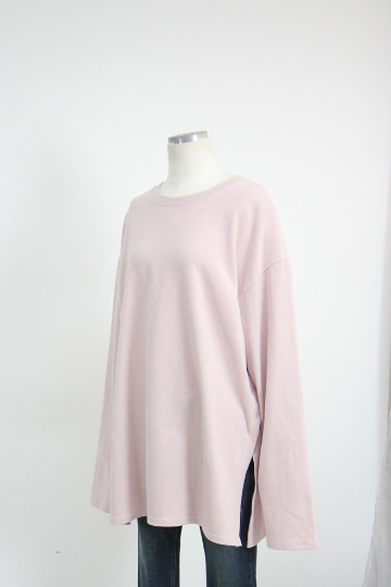 루즈핏 겉기모 트임 티셔츠 LV1451