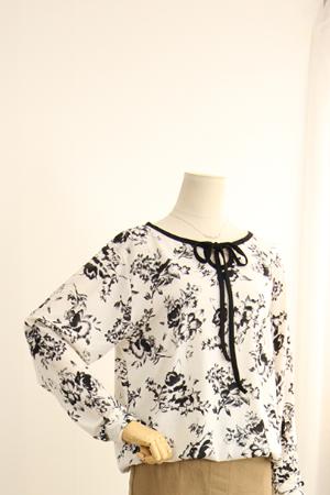 먹물 꽃 나염 티셔츠 MN1166