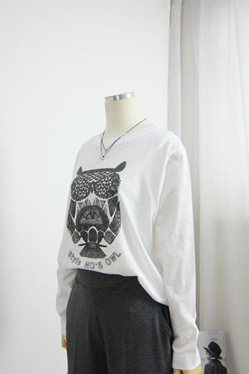 캐주얼 부엉이 프린팅 티셔츠 MN1218