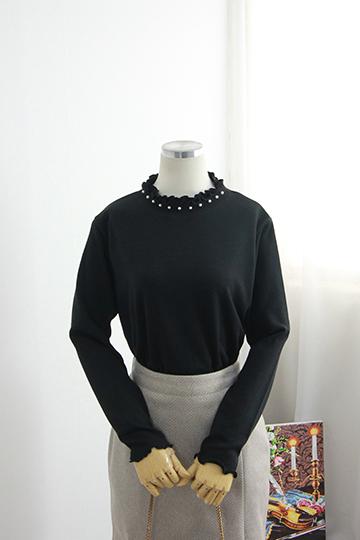 피드 넥 프릴 진주 티셔츠 MN1238