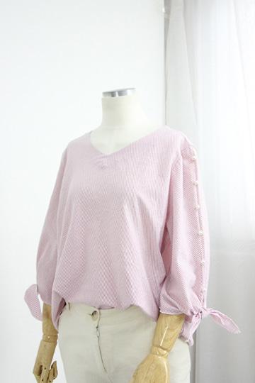 리본 소매진주 스트라이프 셔츠 MN1261