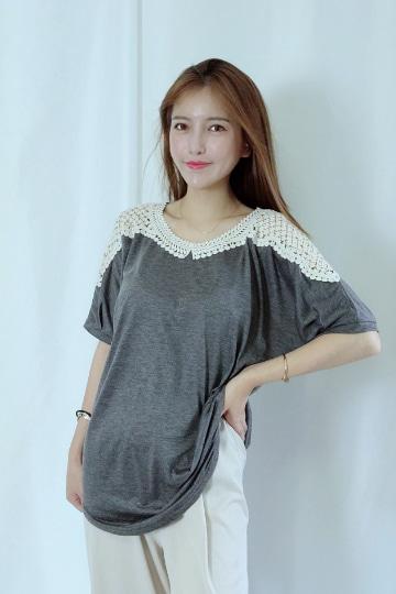 포인트 레이스 반팔 티셔츠 MN1267