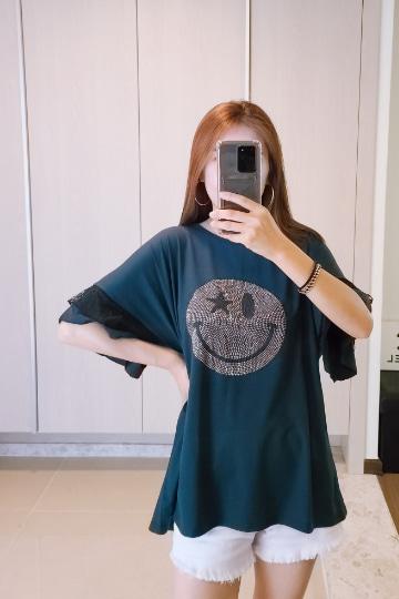 해피 소매 레이스 반팔 티셔츠 MN1270