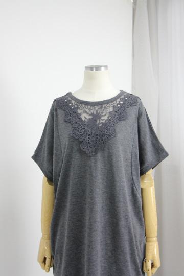 시스루 레이스 슬라브 티셔츠 MN1279