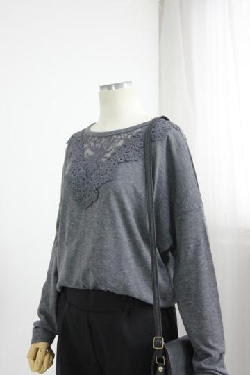 레이스배색 라운드넥 티셔츠 MN1283