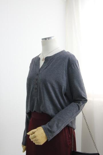 웨일 단추 슬라브 티셔츠 MN1294