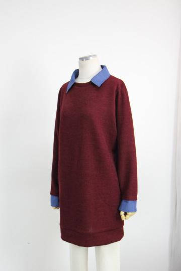 데님카라 배색 롱 니트 티셔츠 MN1318