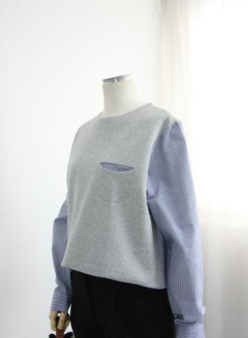 로비 스트라이프 배색 티셔츠 MN1324