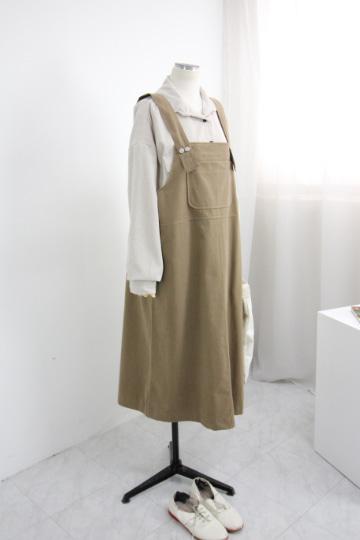 큐트 앞 포켓 멜빵 원피스 MSM1938