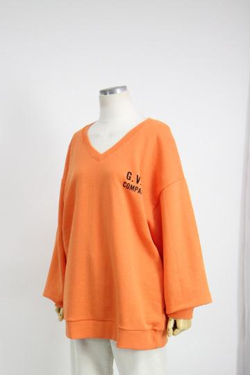 펌킨 브이넥 쭈리 맨투맨 티셔츠 MSM1941