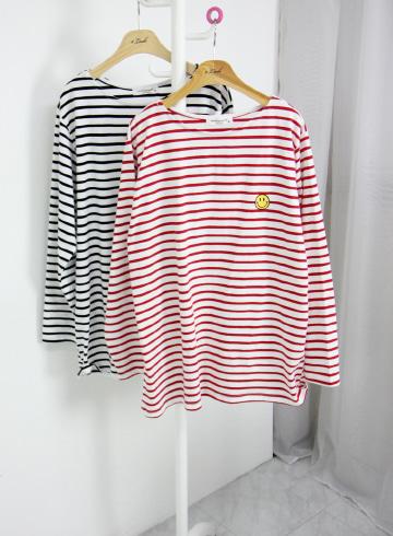 스마일 단가라 라운드넥 티셔츠 MSM1965