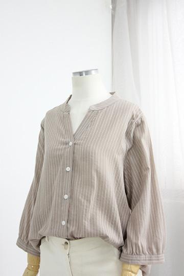 [교환반품불가] 러버 스트라이프 남방 셔츠 OKI508