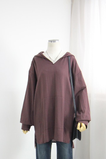 [교환반품불가] 캥거루 브이넥 후드 티셔츠  OKI552