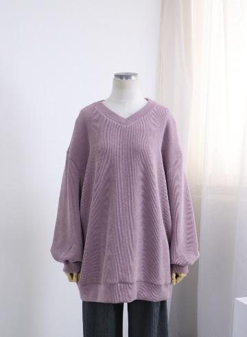브이넥 골지 벌루소매 티셔츠 OKI652