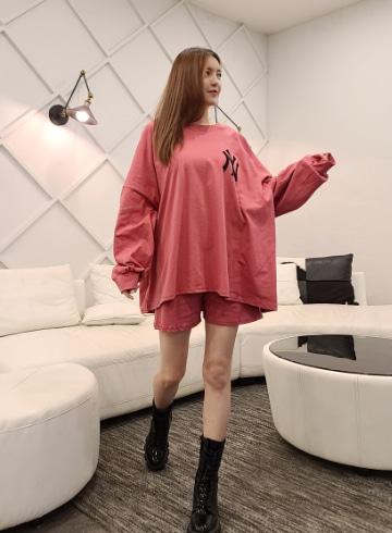 박시 티셔츠+밴딩 반바지 세트 OPA10