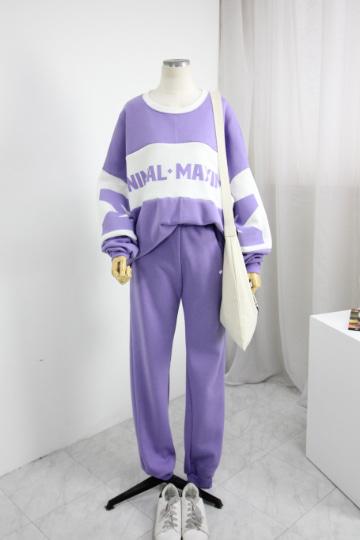 미니멀 맨투맨+기모 밴딩바지 세트 PS102