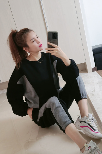 베티 기모 맨투맨+밴딩 바지 세트 PS107