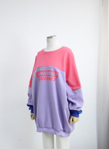 인디고 컬러배색 맨투맨 티셔츠 PS127