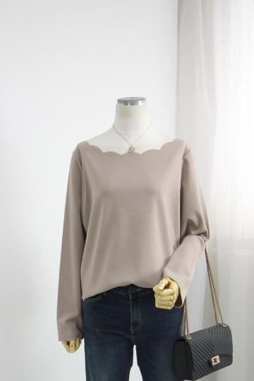 여리핏 어깨 물결 티셔츠 QZ1034