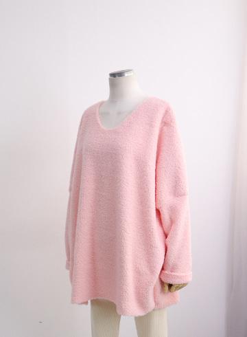 포그니 뽀글이 브이넥 티셔츠 TTG1161