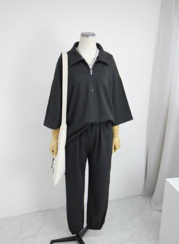 카라 티셔츠+밴딩조거팬츠 세트 KM1448