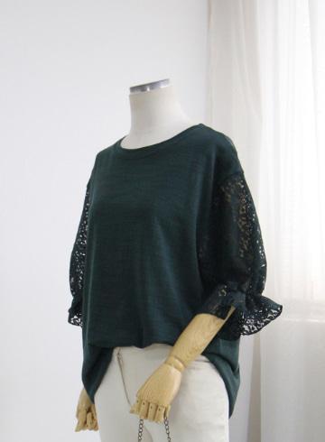레이스소매 티셔츠 MN1346