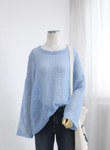 시스루 썸머 그물니트 티셔츠 TTG1249