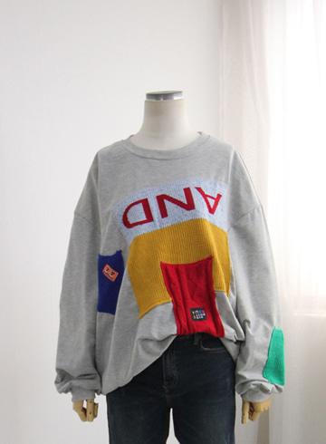쪽니트 배색 티셔츠 TTM73